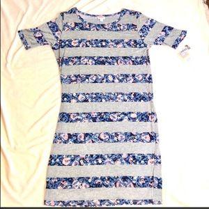 LuLaRoe Julia dress gray & floral print 2XL